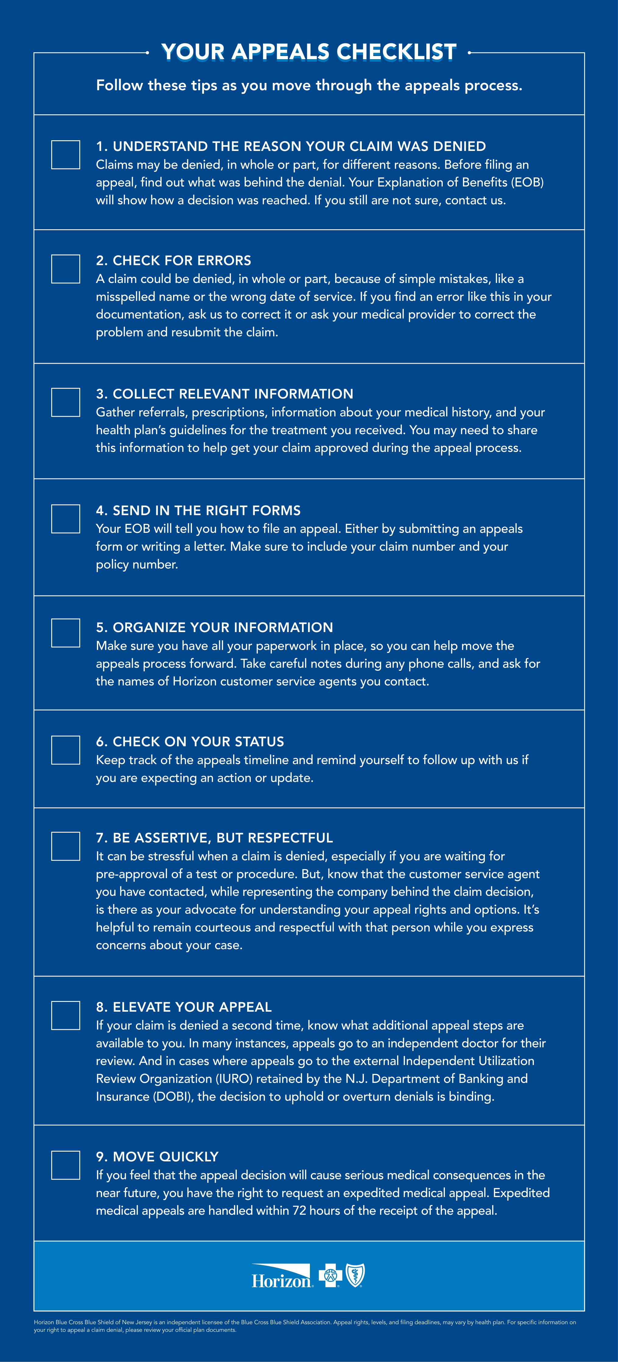 Your Appeals Checklist